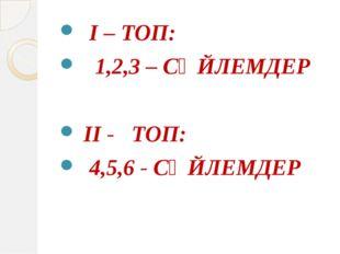 І – ТОП: 1,2,3 – СӨЙЛЕМДЕР ІІ - ТОП: 4,5,6 - СӨЙЛЕМДЕР