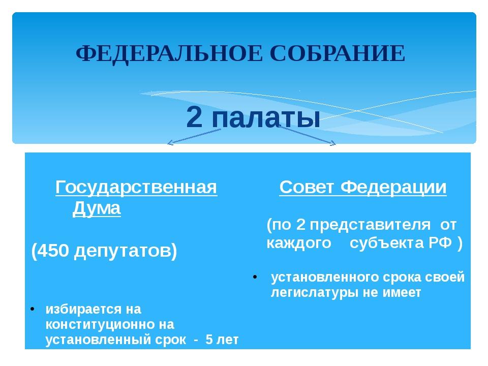 2 палаты ФЕДЕРАЛЬНОЕ СОБРАНИЕ Государственная Дума (450 депутатов) избирается...
