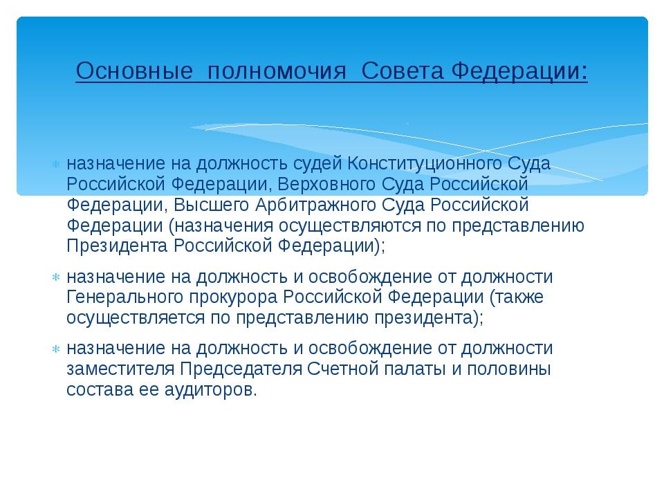 назначение на должность судей Конституционного Суда Российской Федерации, Вер...