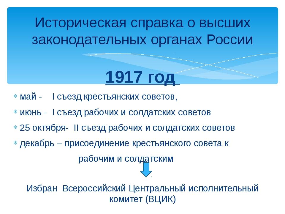 1917 год май - I съезд крестьянских советов, июнь - I съезд рабочих и солдатс...