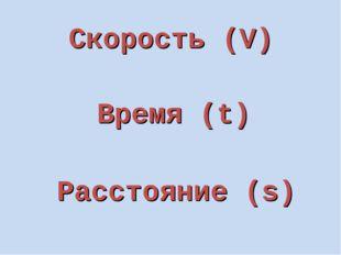 Скорость (V) Время (t) Расстояние (s)