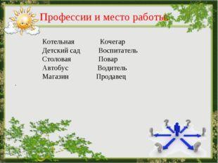 Профессии и место работы. Котельная Кочегар Детский сад Воспитатель Столовая