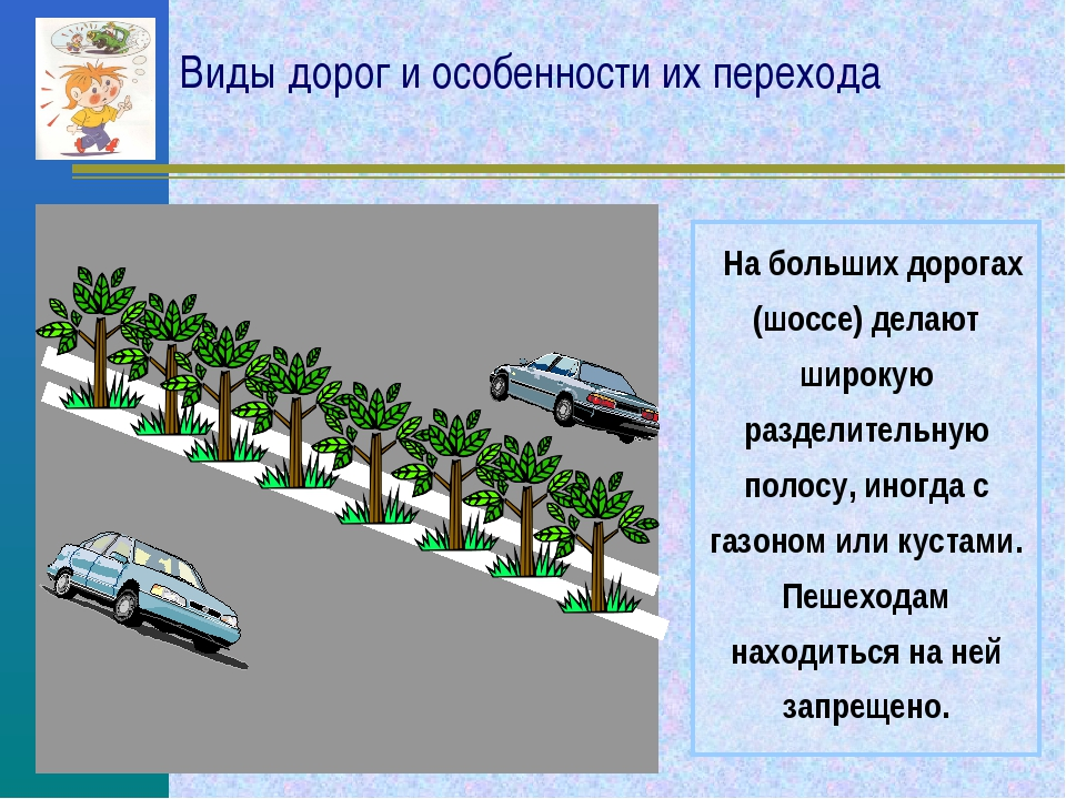 Виды дорог и особенности их перехода На больших дорогах (шоссе) делают широку...