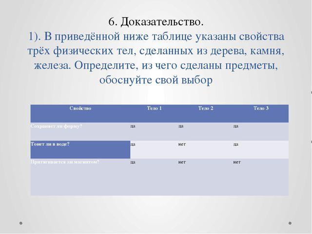 6. Доказательство. 1). В приведённой ниже таблице указаны свойства трёх физич...