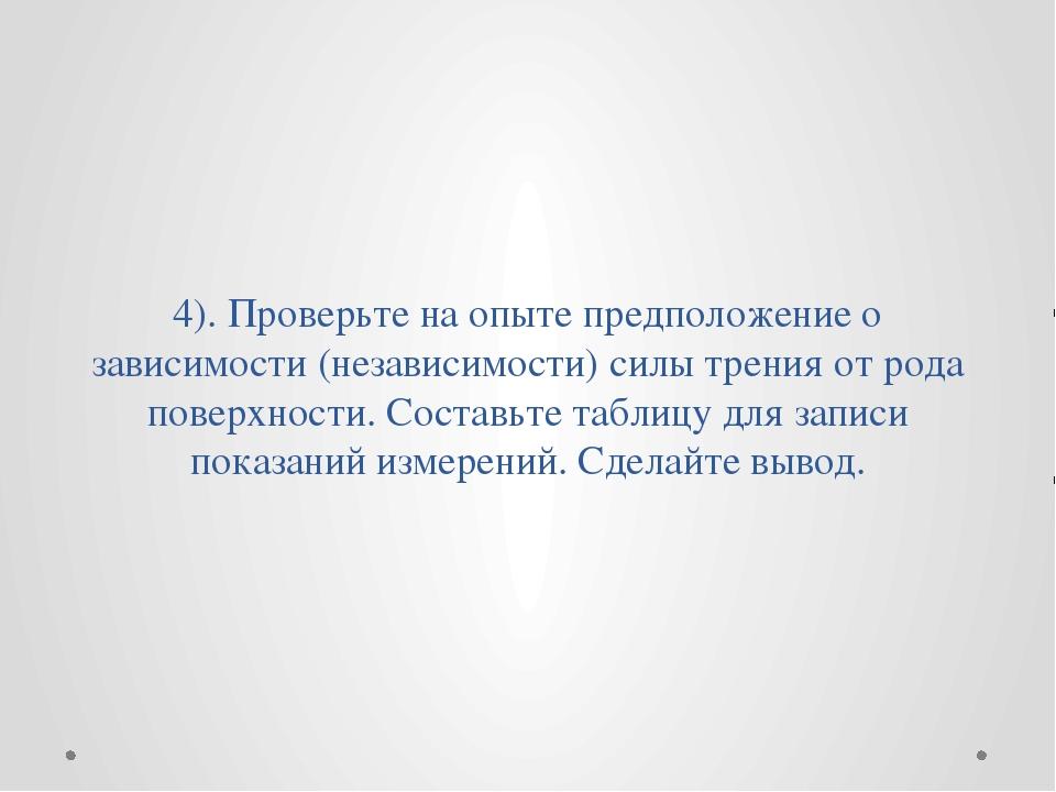 4). Проверьте на опыте предположение о зависимости (независимости) силы трени...