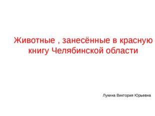 Животные , занесённые в красную книгу Челябинской области Лукина Виктория Юрь