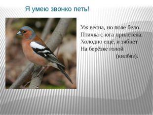 Я умею звонко петь! Уж весна, нополе бело. Птичка с юга прилетела. Холодно е