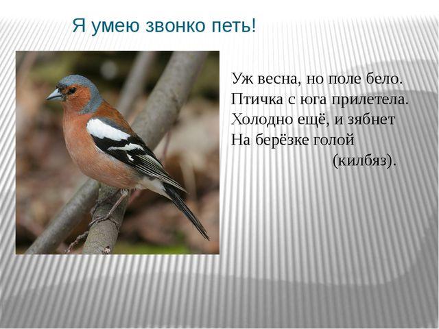 Я умею звонко петь! Уж весна, нополе бело. Птичка с юга прилетела. Холодно е...
