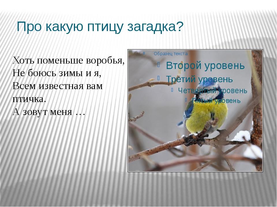 Про какую птицу загадка? Хоть поменьше воробья, Не боюсь зимы и я, Всем извес...