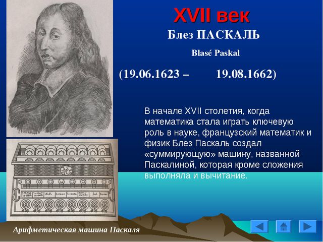 XVII век Блез ПАСКАЛЬ Blasé Paskal (19.06.1623 – 19.08.1662) Арифметическая...