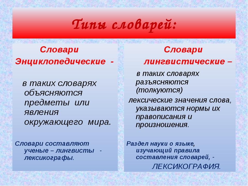 Типы словарей: Словари Энциклопедические - в таких словарях объясняются предм...