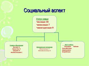 Социальный аспект Место работы Служащие- Рабочие- Ком.работники- Домохозяйки-