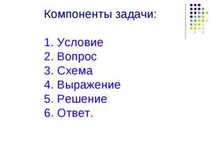 Компоненты задачи: 1. Условие 2. Вопрос 3. Схема 4. Выражение 5. Решение 6. О
