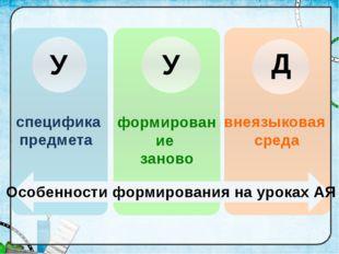 Особенности формирования на уроках АЯ У Д У специфика предмета формирование