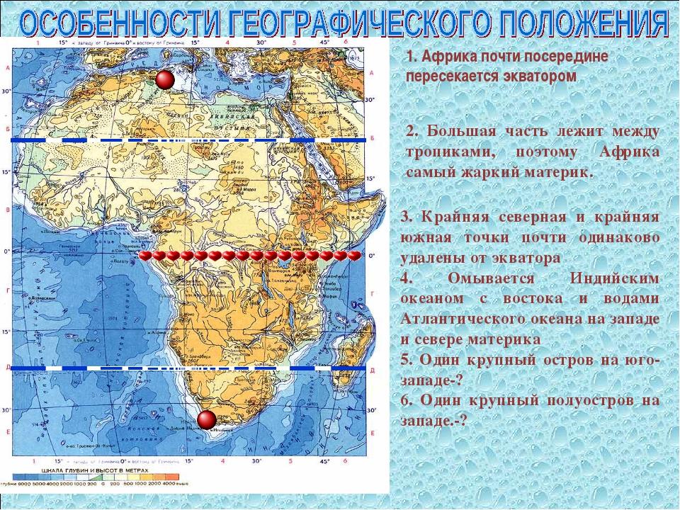 1. Африка почти посередине пересекается экватором 2. Большая часть лежит межд...