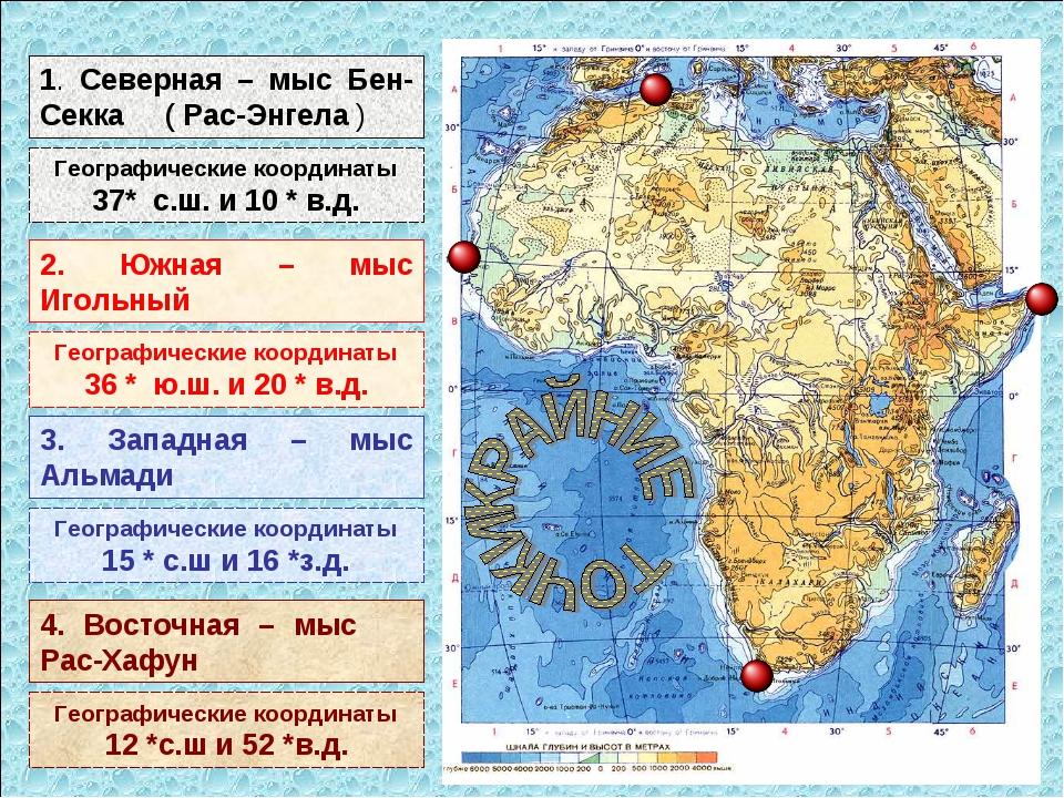 1. Северная – мыс Бен-Секка ( Рас-Энгела ) Географические координаты 37* с.ш....