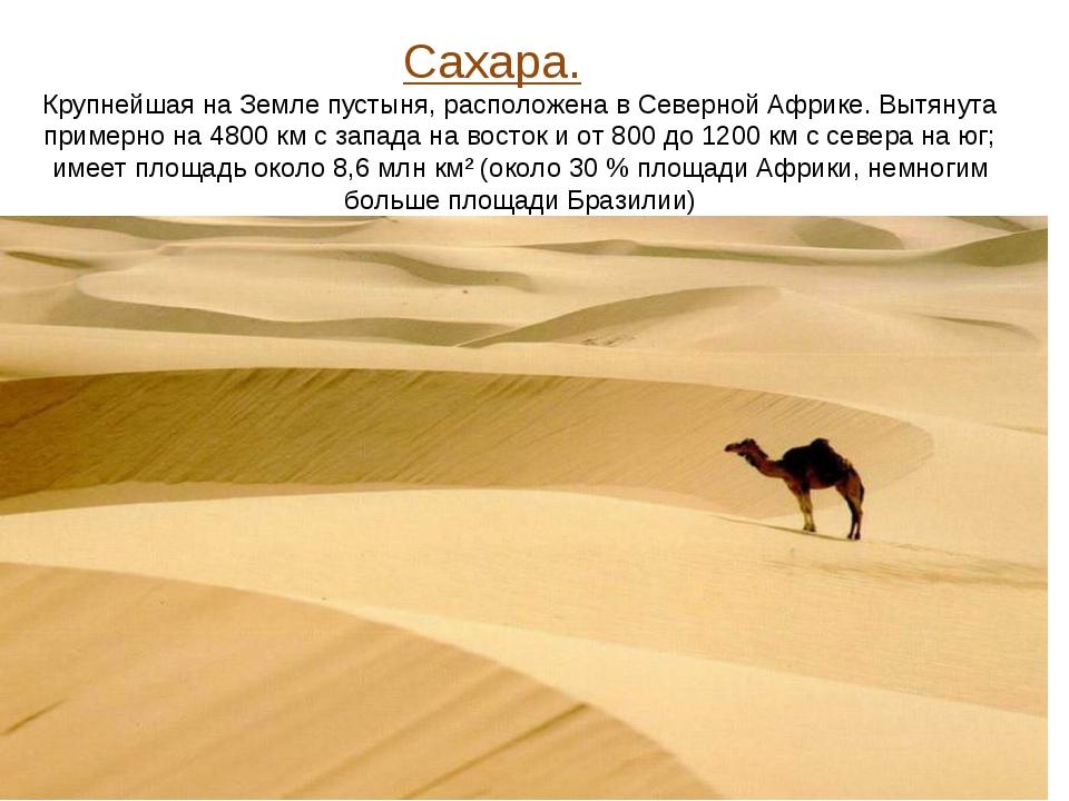 Сахара. Крупнейшая на Земле пустыня, расположена в Северной Африке. Вытянута...