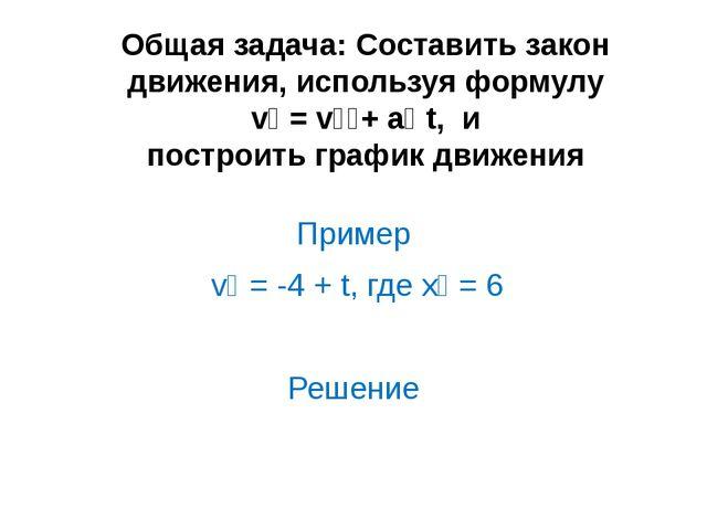 Общая задача: Составить закон движения, используя формулу vₓ = vₒₓ+ aₓ t, и п...