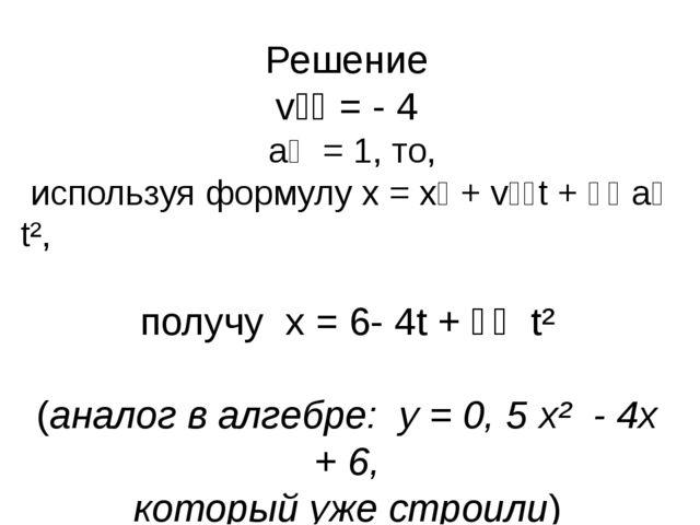Решение vₒₓ = - 4 aₓ = 1, то, используя формулу х = хₒ + vₒₓt + ⅟₂ aₓ t², пол...