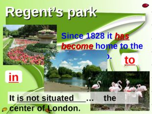 Regent's park Since 1828 it has become home to the London Zoo. to in It is no