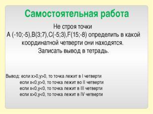 Не строя точки A (-10;-5),B(3;7),C(-5;3),F(15;-8) определить в какой координа