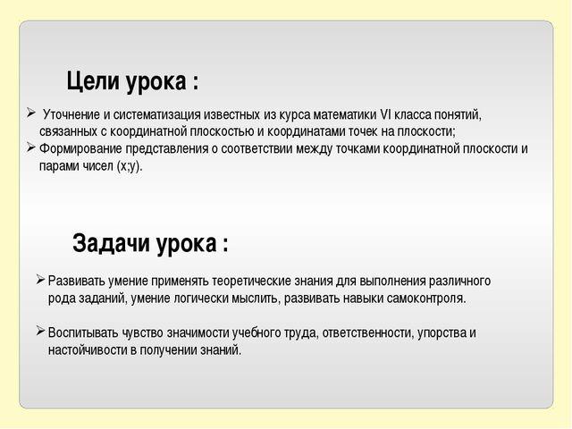 Цели урока : Уточнение и систематизация известных из курса математики VI клас...