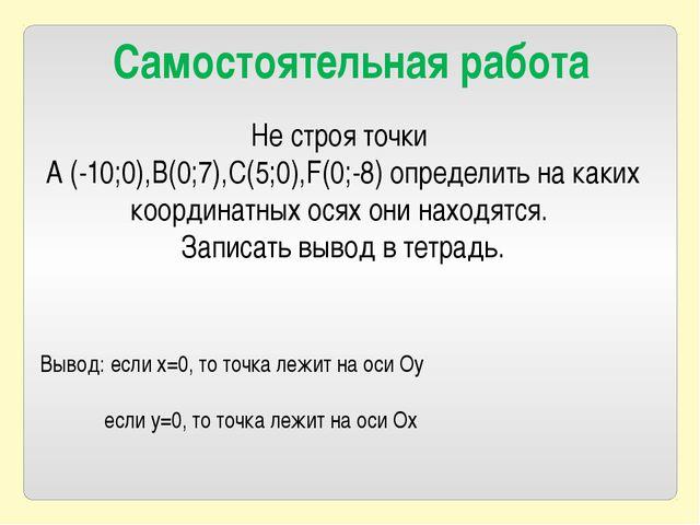 Не строя точки A (-10;0),B(0;7),C(5;0),F(0;-8) определить на каких координатн...