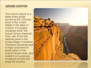 The Grand Canyon is a steep-sided gorge carved by the Colorado River in the U