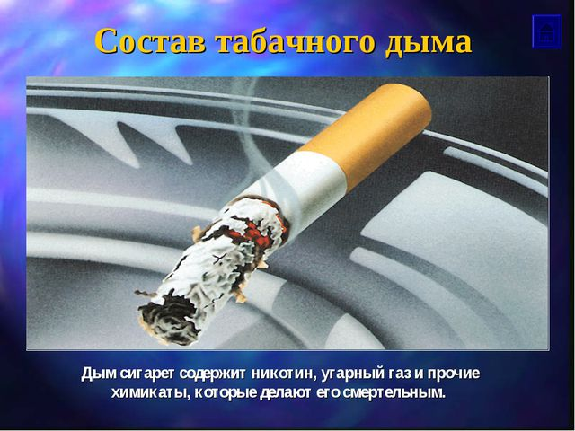 Состав табачного дыма Дым сигарет содержит никотин, угарный газ и прочие хими...