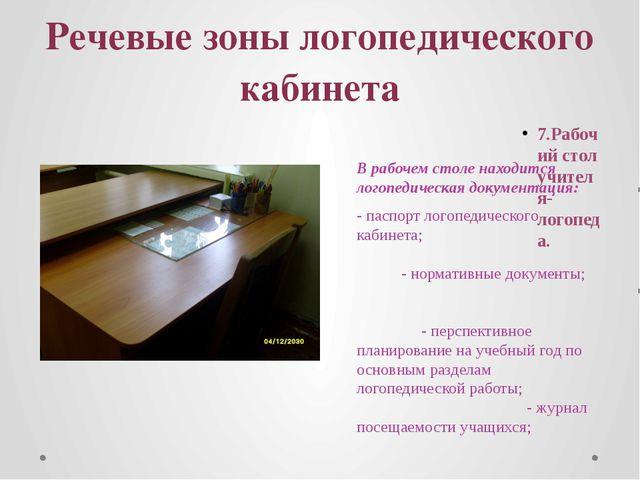 Речевые зоны логопедического кабинета 7.Рабочий стол учителя-логопеда. В рабо...