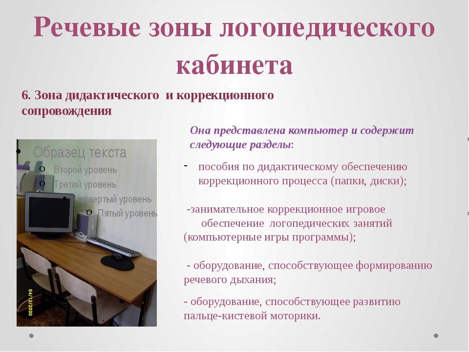 Речевые зоны логопедического кабинета 6. Зона дидактического и коррекционного...
