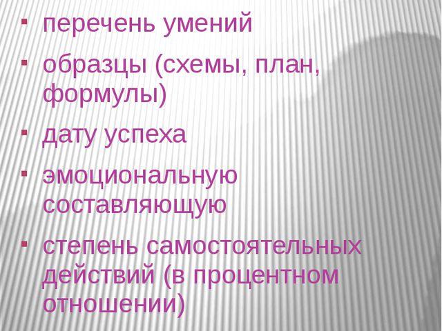 Содержание перечень умений образцы (схемы, план, формулы) дату успеха эмоцион...