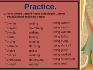 Practice. To write To swim To walk To talk To sing To dance To give To work T