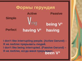 Формы герундия I don't like interrupting people. (Active Gerund) – Я не люблю