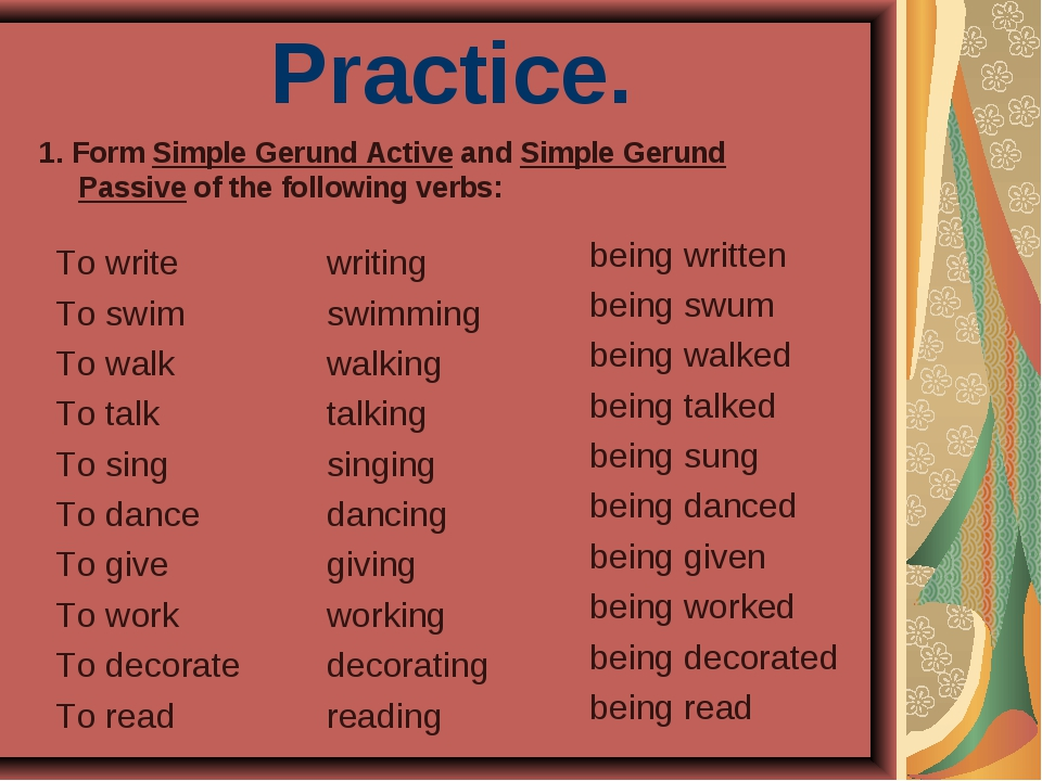 Practice. To write To swim To walk To talk To sing To dance To give To work T...