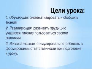 1. Обучающая: систематизировать и обобщить знания 2. Развивающая: развивать э