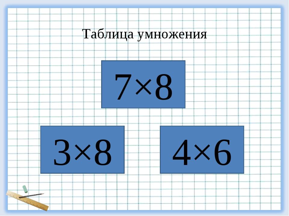 4×6 3×8 7×8 Таблица умножения