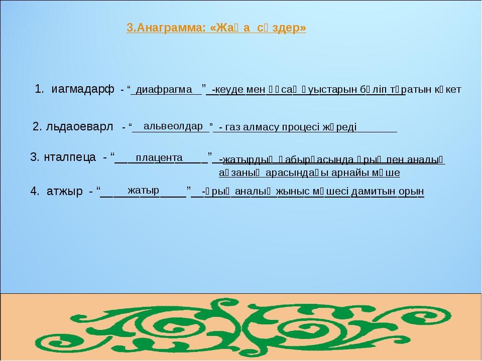 """3.Анаграмма: «Жаңа сөздер» 1. иагмадарф - """"____________""""_____________________..."""