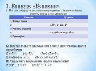 Формулы сокращенного умножения Название Формула 1. Квадрат суммы 2.(а-в)²