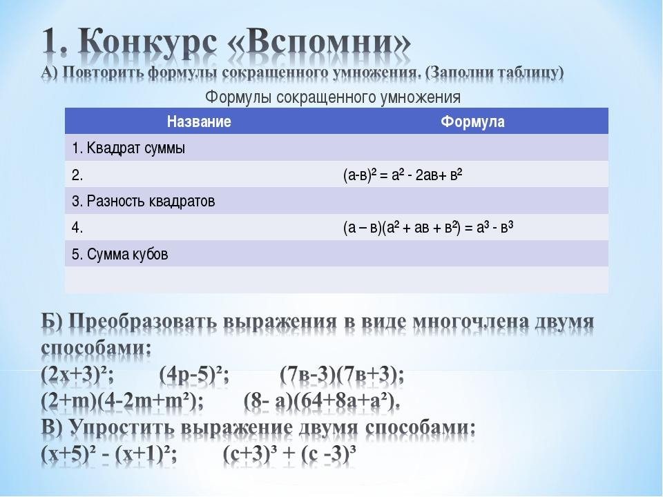 Формулы сокращенного умножения Название Формула 1. Квадрат суммы 2.(а-в)²...