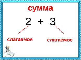 сумма 2 + 3 слагаемое слагаемое