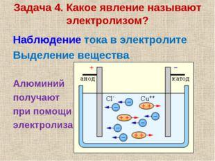 Задача 4. Какое явление называют электролизом? Наблюдение тока в электролите