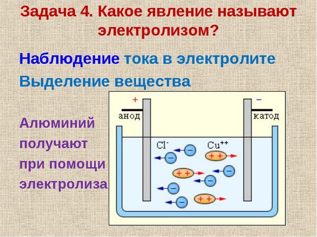 Задача 4. Какое явление называют электролизом? Наблюдение тока в электролите...
