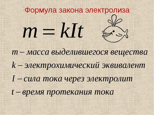 Формула закона электролиза