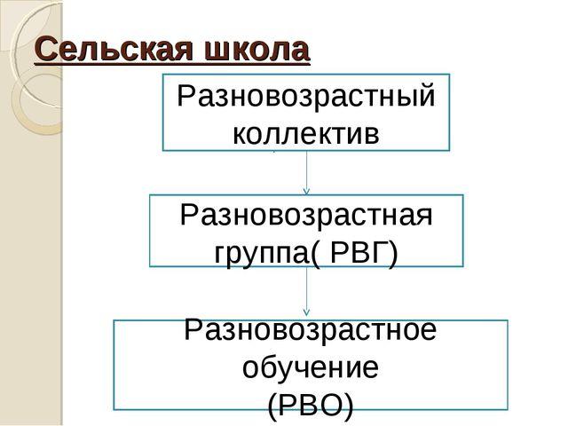 Сельская школа Разновозрастный коллектив Разновозрастная группа( РВГ) Разново...