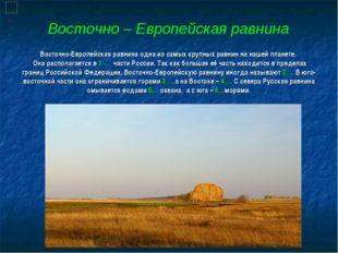Восточно-Европейская равнина одна из самых крупных равнин на нашей планете. О