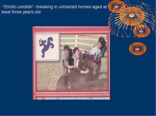 """Emdic-uredish""- breaking in untrained horses aged at least three years old"
