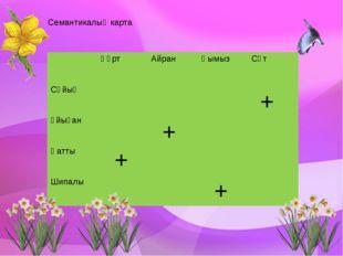 Семантикалық карта + + + + Құрт Айран Қымыз Сүт Сұйық Ұйыған Қатты Шипалы
