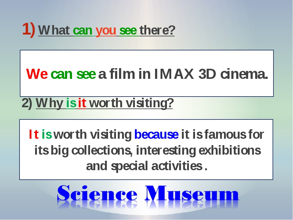 What can you see there? 2) Why is it worth visiting? We can see a film in IMA...