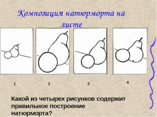 Композиция натюрморта на листе 1 2 3 4 Какой из четырех рисунков содержит пра